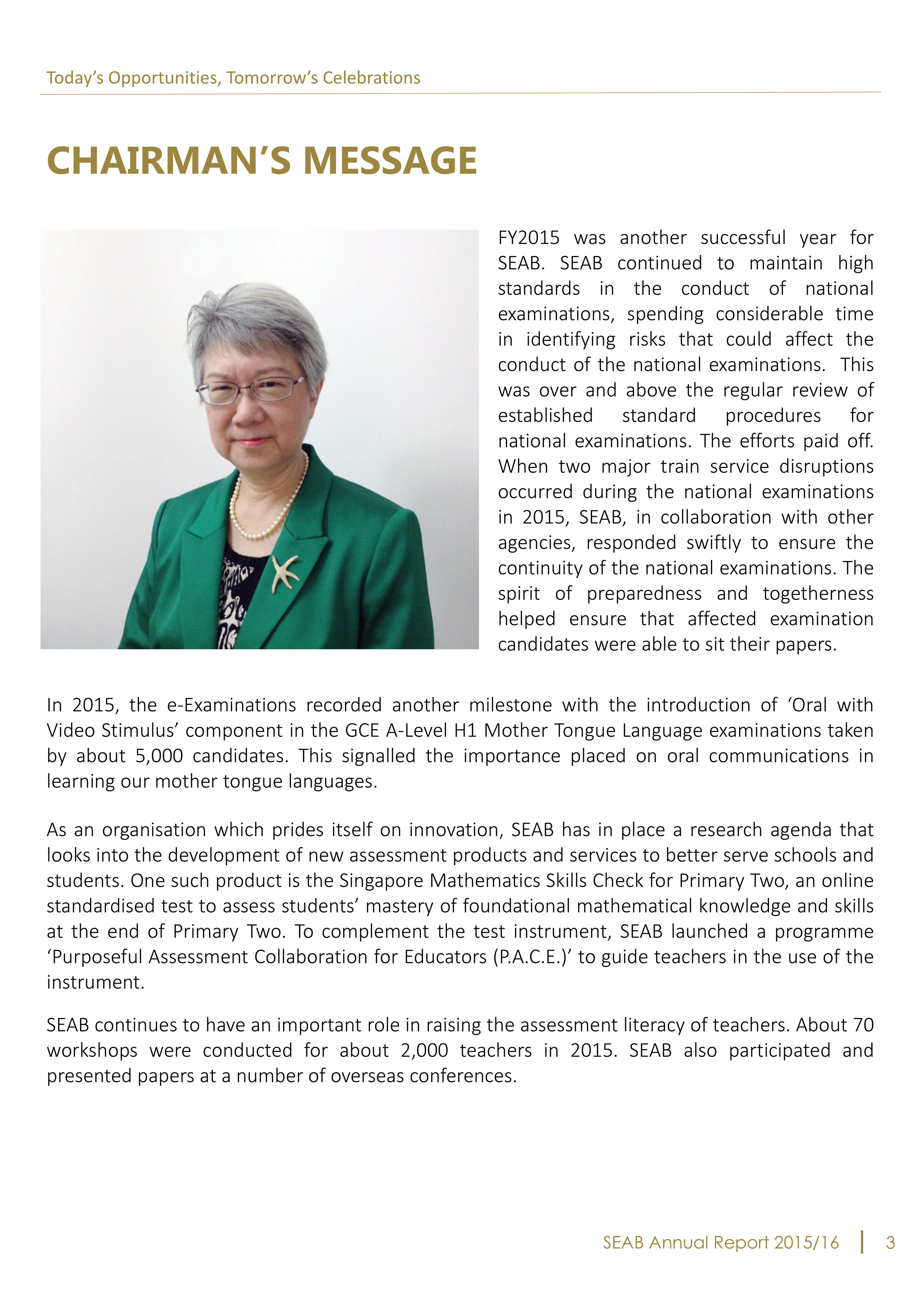 Seab Annual Report 2015 2016 Chairman S Message