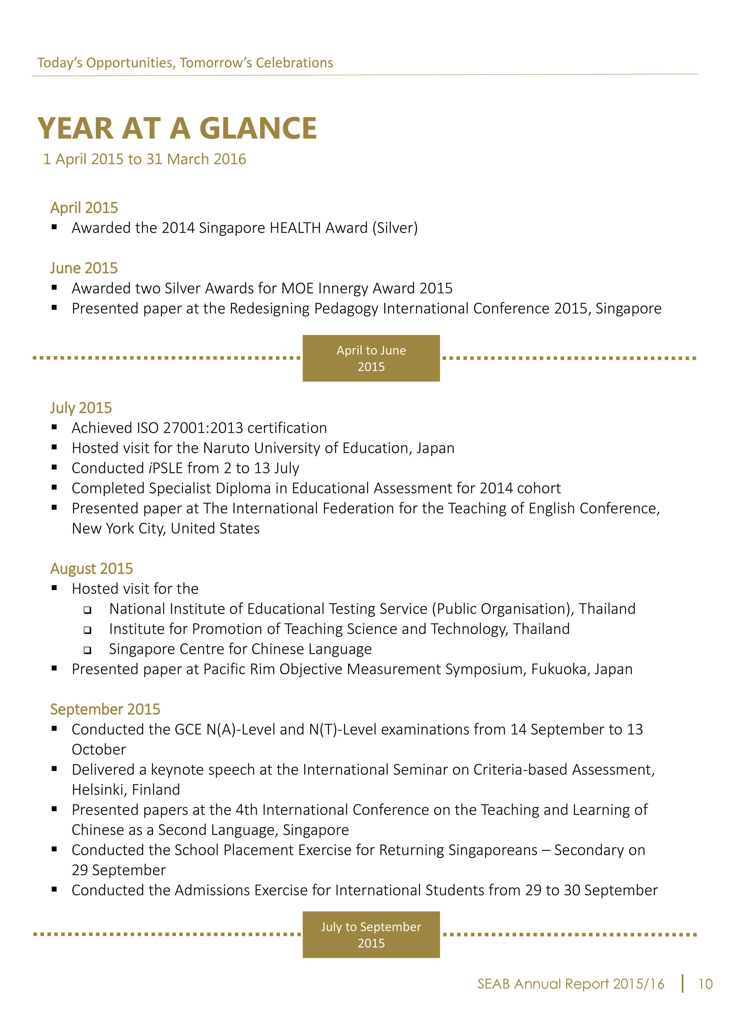 seab annual report 2015 2016 year at a glance
